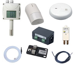 Temperature, humidity, voltage, AC current, air flow, flood, electricity supply, water leak detector, door contact, air flow, entry to the room